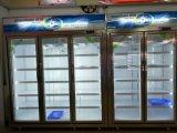 Ventilatore che raffredda il congelatore dritto della visualizzazione del portello di vetro del doppio portello
