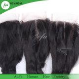 Chiusura del merletto dei capelli umani dei capelli del brasiliano di 100% con 4*4