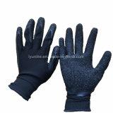 Трикотажные черный полиэстер с покрытием черного цвета из латекса на упоре для рук рабочие перчатки