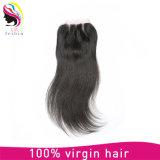 Бразильский человеческого волоса 7высшего качества кружева прямой закрытия комплекты