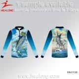A pesca da proteção solar do disconto do Sublimation desgasta camisas da camisola