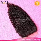 Partie bouclée crépue de fermeture d'armure de cheveu de Remy d'Afro de fermeture de lacet de cheveu de beauté de la Reine
