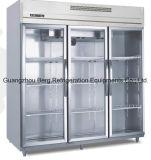 1500L R134A нержавеющая сталь коммерческих стеклянные двери холодильник с маркировкой CE