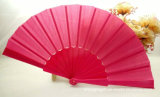 Solid Plain Color Nylon Silk Hand Fan for Wedding Gift Favor