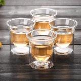 regalo vetro/vetro della tazza di tè di vetro di Pyrex della tazza di tè del tè doppio 50ml