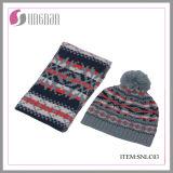 Vestito acrilico della sciarpa e del cappello del jacquard di vendita di inverno dei bambini caldi di modo