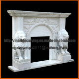 Chimenea de mármol blanco Mantel con leones MF1715