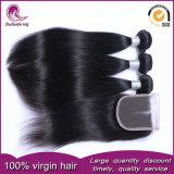 Tessuto indiano diritto di seta dei capelli umani del Virgin con la chiusura del merletto