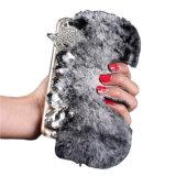 Handmade Diamond fourrure de lapin Rex Téléphone cellulaire pour couvrir l'iPhone 6X/8/7/SPLUS Samsung S6/S7/S8+