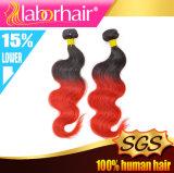 方法バージン2の調子のOmbreの赤いカラーブラジルの人間の毛髪のよこ糸