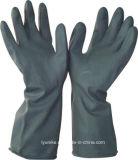 Длинные латексные резиновые перчатки промышленности с другой стороны черного цвета перчатки