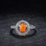 Ring van de Vinger van het Zirkoon van de Ringen van vrouwen Rhodium Geplateerde Oranje Opalen