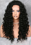 Peruca cheia brasileira Curly Kinky do laço do cabelo humano do Virgin