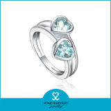 925 de la moda Bodas de Plata Heart-Shape anillo de cristal joyas al por mayor (R-0360)
