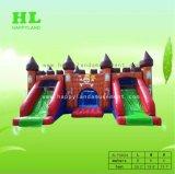 스포츠 게임을 해 아이를 위한 2개의 거대한 활주를 가진 주문을 받아서 만들어진 환상적인 해적 주제 팽창식 성곽