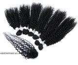 Волосы волос девственницы перуанские Kinky курчавые с закрытием Humanhair