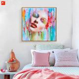 Réalisme décoratif Peinture à l'huile de portrait féminin avec cadre