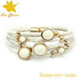 Blanco Color de pulseras de la amistad cuero para las mujeres