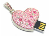 De Aandrijving van de Flits van het Kristal USB van de Halsband van de Schijf van het Hart USB van juwelen