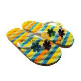 Nouvelle conception Soft EVA spirales moussantes Floral imprimé flip flop pantoufles pour les femmes de mode