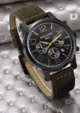 Relógios Multifunction impermeáveis do homem do grande relógio do vintage da forma dos relógios dos homens de quartzo da cinta de couro do seletor