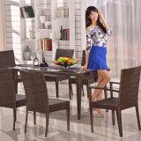 家具のレストランのビストロの藤の椅子表セットを食事する黒い柳細工の庭のテラス