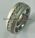 Glans me de Hete Verkopende Ring van het Titanium van het Roestvrij staal met Steen