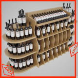 Hölzerne Vintageview an der Wand befestigte Wein-Flaschen-Zahnstange