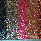 Couro do plutônio do Glitter para as sandálias Hw-752 das sapatas