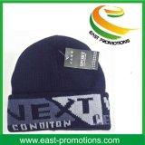 高品質の固体灰色の冬のニットの袖口の帽子の帽子