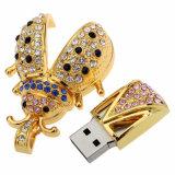 Mecanismo impulsor a granel del flash del USB del insecto 8GB con la piedra doméstica de la joyería