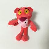 표범 분홍색 상표 견면 벨벳에 의하여 채워지는 연약한 호랑이 동물성 장난감 Keychain