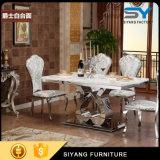 Pieds en acier inoxydable Table à manger en marbre Table en acier inoxydable