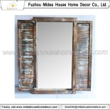Obturador de la ventana Diseño Capítulo tallado de madera blanco antiguo espejo (en la acción)