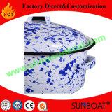5qt de White+Blue Geschilderde Pot van de Soep van de Pot van de Voorraad van het Email Cookware