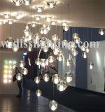 Candelabro de cristal do projeto da bolha desobstruída da iluminação do pendente do diodo emissor de luz da esfera de vidro
