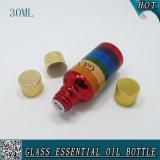 1oz bouteilles en verre cosmétiques d'arc-en-ciel de chapeau d'or de 30 ml