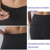 Pantalones de yoga sin bragas con dibujar cadena y dentro de bolsillo, logotipo de plata reflectante Imprimir