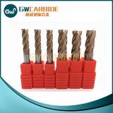 4 moinhos de extremidade lisos do carboneto de tungstênio das flautas