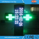 Sinal dobro da tela da cruz da farmácia do diodo emissor de luz da cor P10 para a farmácia