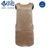 Lino marrón Rear-Zipper Pocket Newstyle Damas Moda Vestido recto