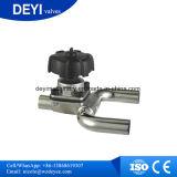 Válvula de diafragma de três vias do manual sanitário de aço inoxidável