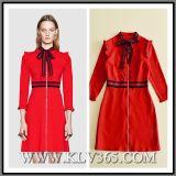 2018 neues Entwurfs-Dame-Herbst-Form-Kleidungs-rotes Reißverschluss-Geschäfts-Beleg-Kleid