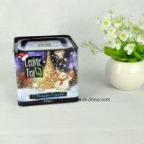 Kundenspezifische quadratische Tee-Blechdose mit luftdichter Kappe, Weihnachtstee-Blechdose