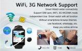 La ROM más nueva del RAM 8GB de la base 1.3GHz 1GB del patio Mtk6580 del androide 5.1 del teléfono del No. 1 D6 3G Smartwatch color elegante del oro del teléfono de WiFi Bluetooth GPS de 1.63 pulgadas