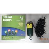 Étanche 64 Bande LED lumière Powered by 4AA crochet de suspension de cas de la batterie à l'arbre, de la chaîne ou corde Style jardin lumière LED, 64 LED témoin de chaîne