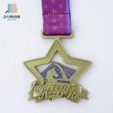 鋳造の金の星夜実行の金属のトロフィメダルをカスタマイズしなさい