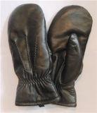 Vuisthandschoen van het Leer van de Winter van de Huid van de Schapen van de Handschoenen van vrouwen de Echte met de Lijn van Leer Drie