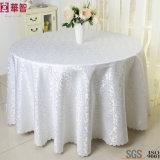 円形のJacuqardの白い結婚式のテーブルクロス