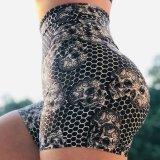 Slim Fit alta relação cintura quadril curtos de desporto de ioga empurrar as mulheres de nylon macia simples funcionamento Fitness Ginásio de exercícios de controle da barriga calções curtos